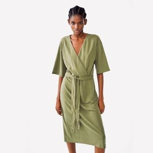 NWT Zara Khaki Green Flowy Dress